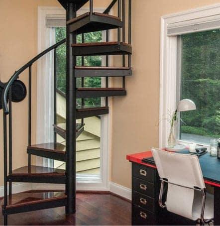 bedroom loft steel spiral stairs
