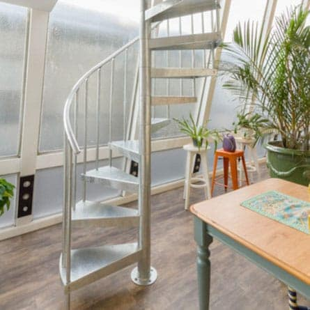 indoor galvanized spiral staircase