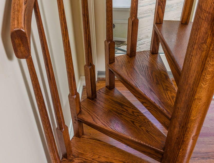 all wood spiral staircase mahogany treads