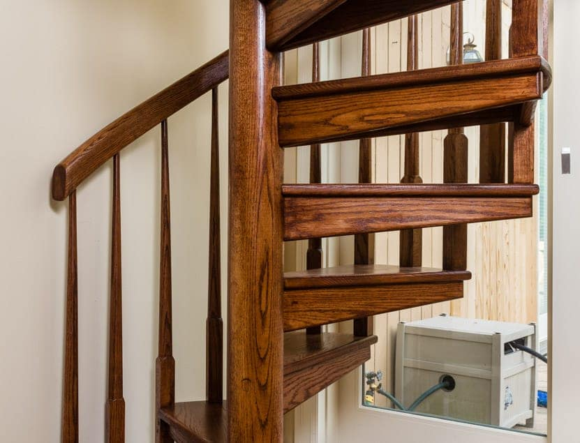 all wood spiral staircase with half turn