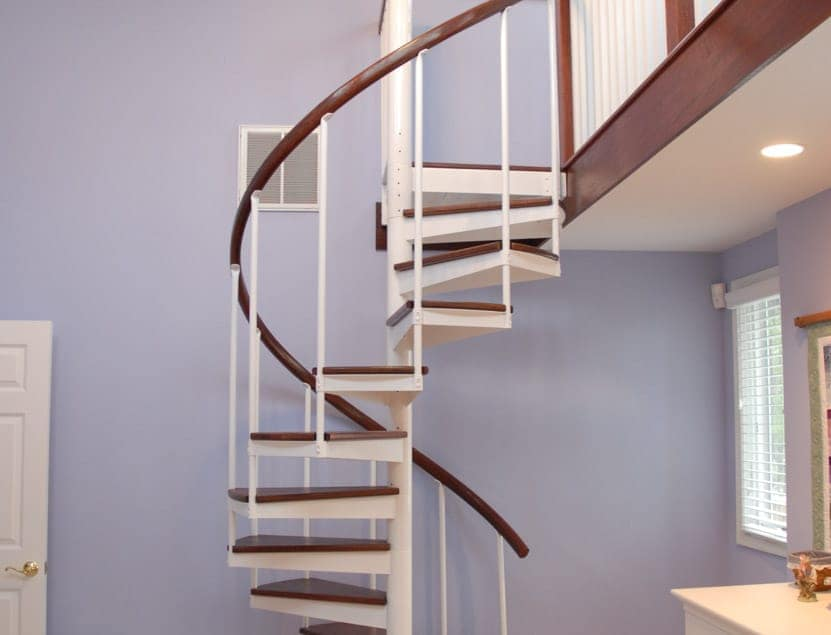painted steel spiral staircase to loft