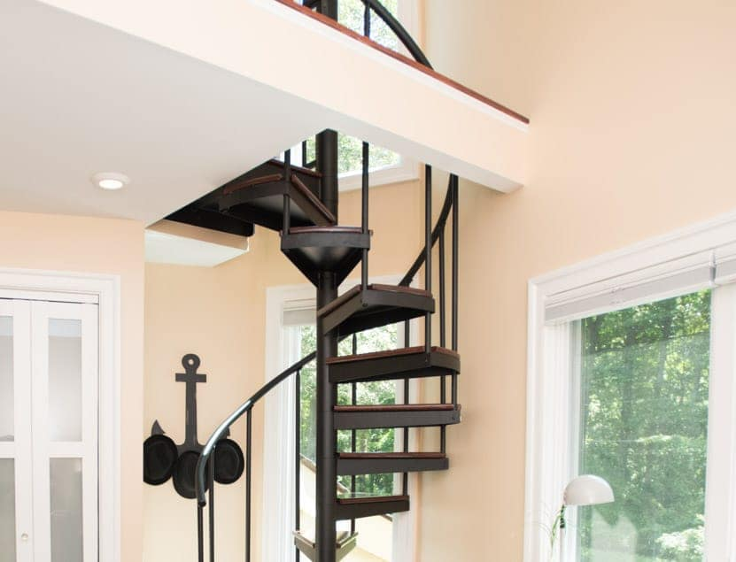 residential spiral stair to office loft