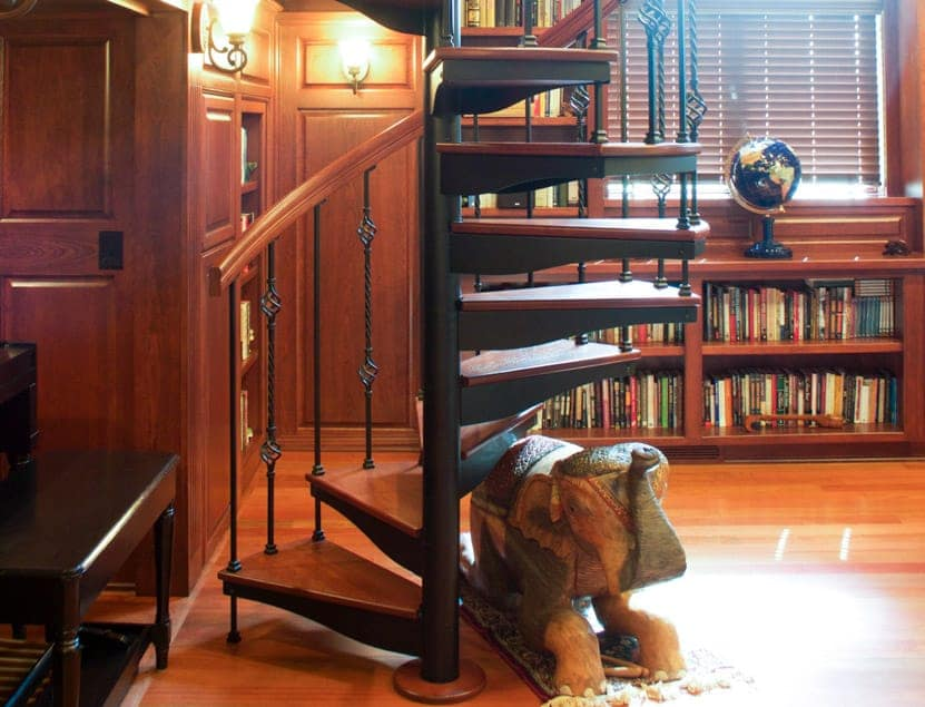 home library spiral staircase