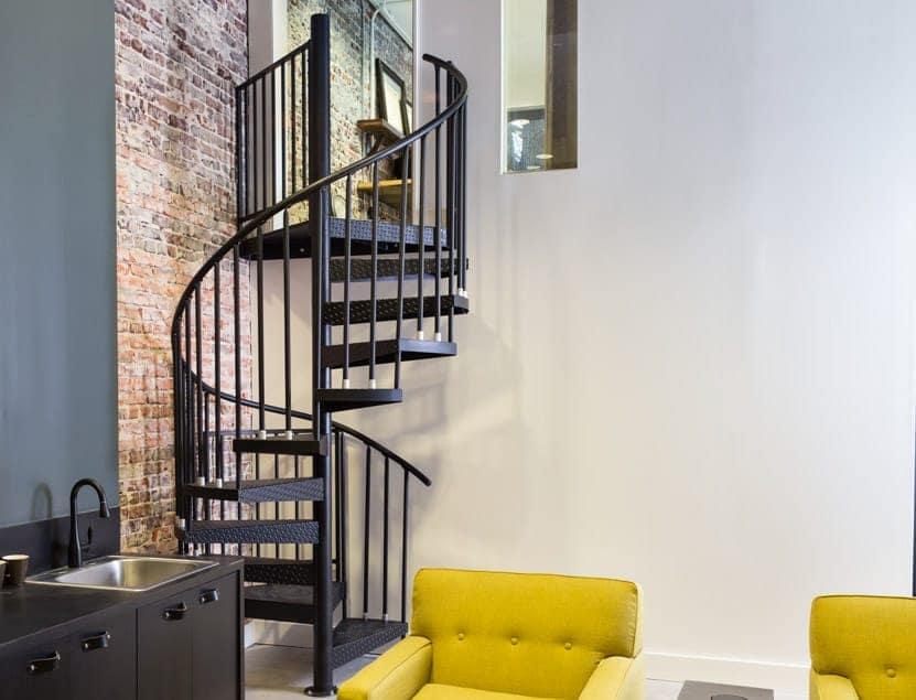 spiral stair to mezzanine office