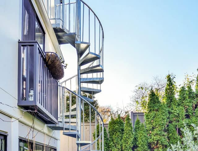 deck to balcony spiral staircase