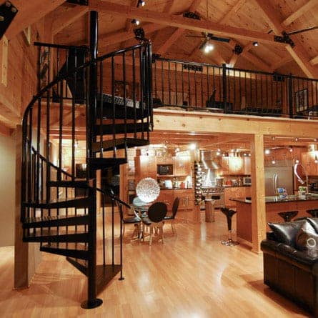 steel spiral staircase in timberframe cabin