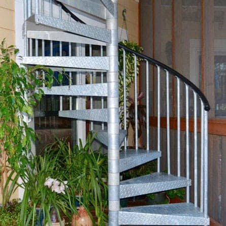 deck to patio galvanized spiral stair