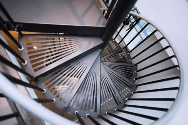 modern open grate steps