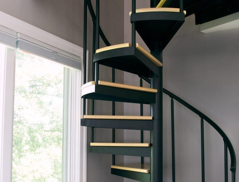 open contemporary steel spiral stair