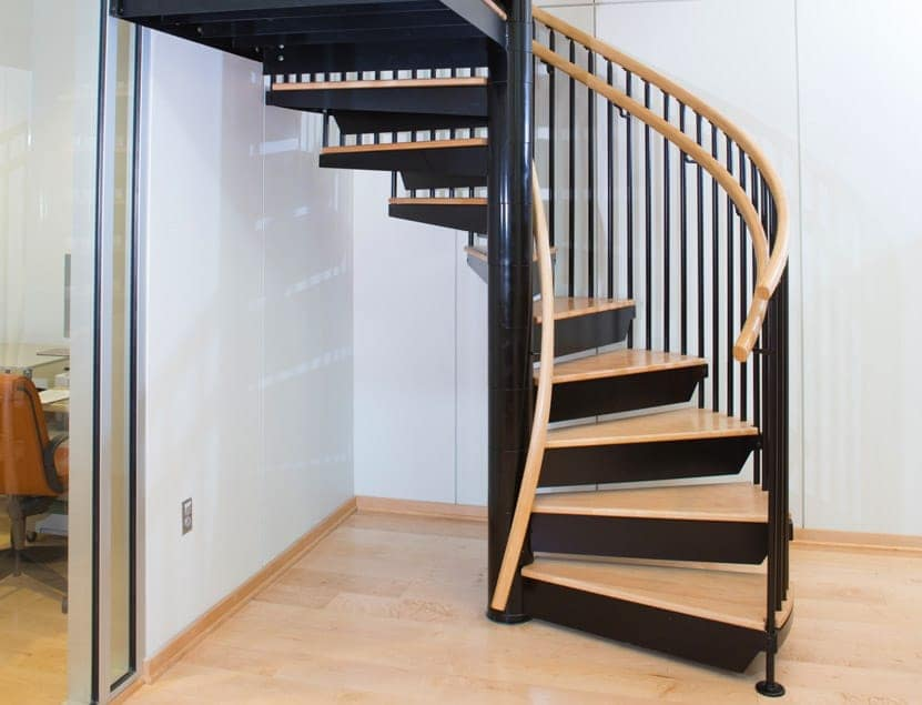 office spiral stair with code risers