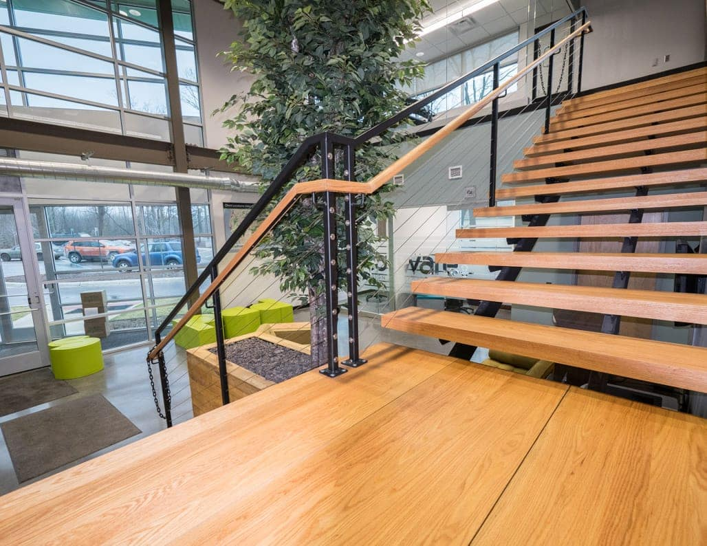landing platform in office lobby stair