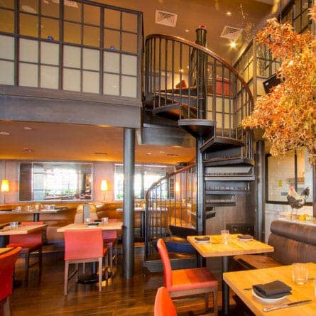 commercial restaurant dining room spiral stair