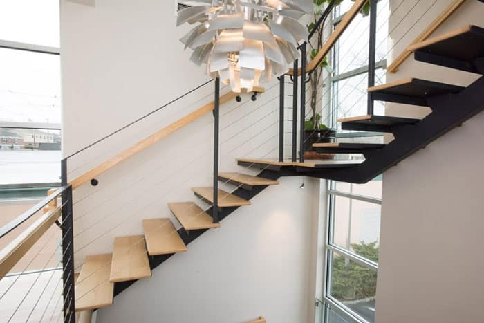 thin profile mono stringer floating stair