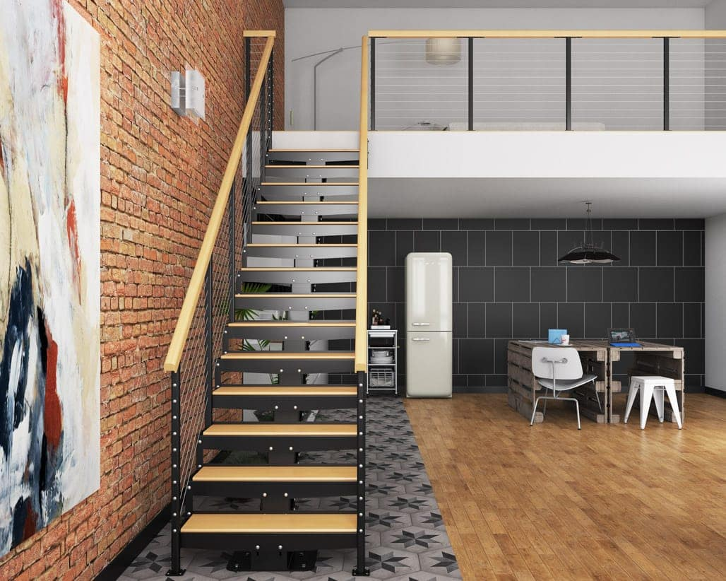 Metal And Wood Floating Stair To Loft