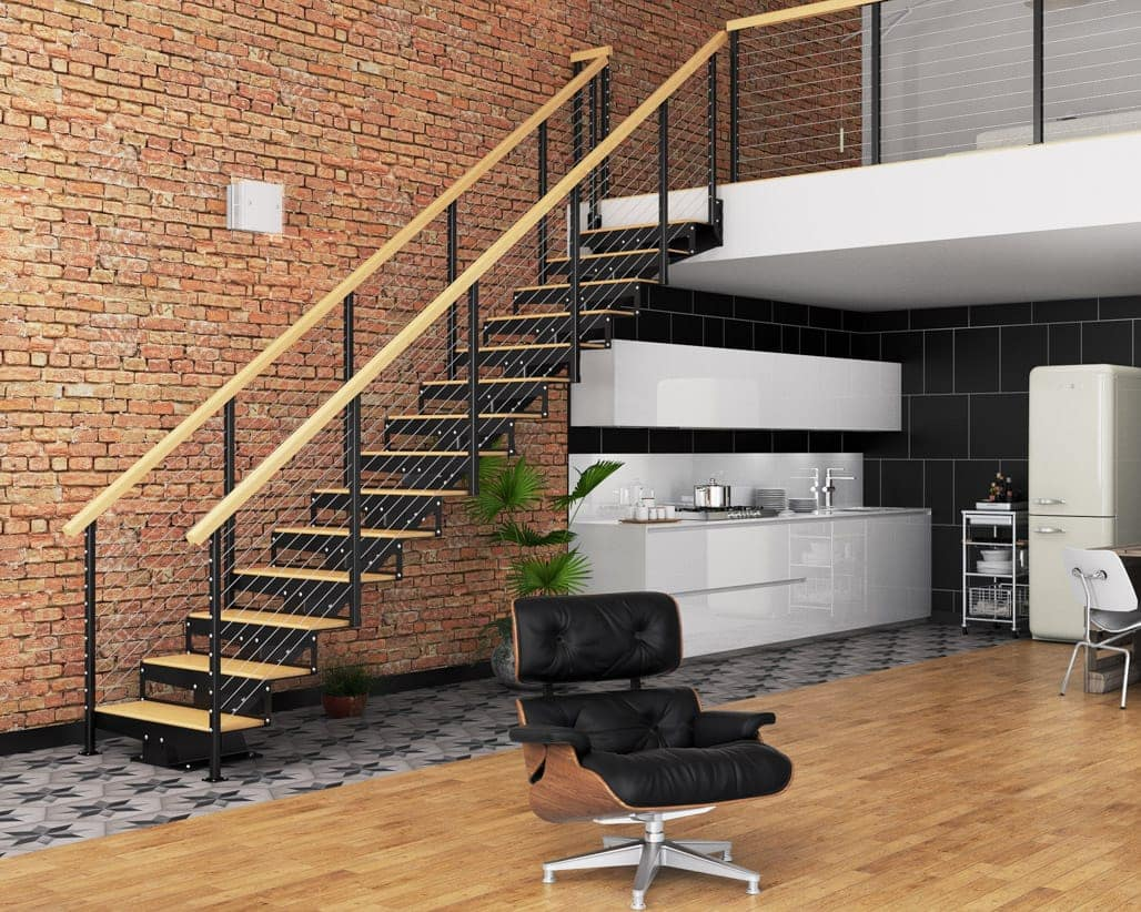 mono stringer office floating stair