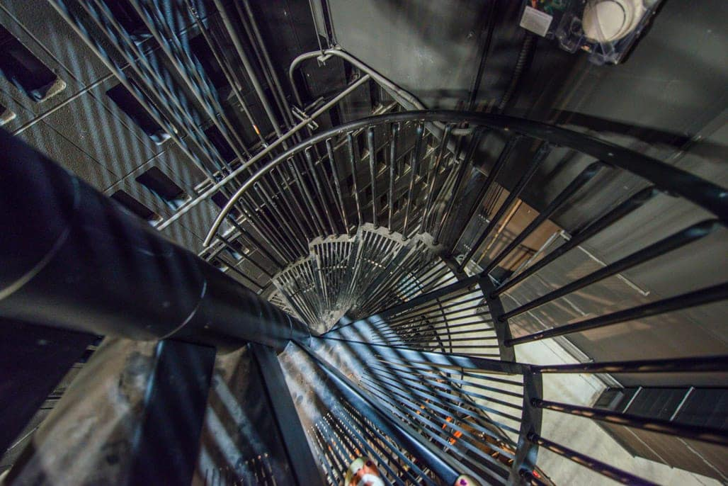industrial maintenance steel spiral staircase