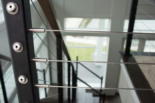 mono stringer cable railing detail shot