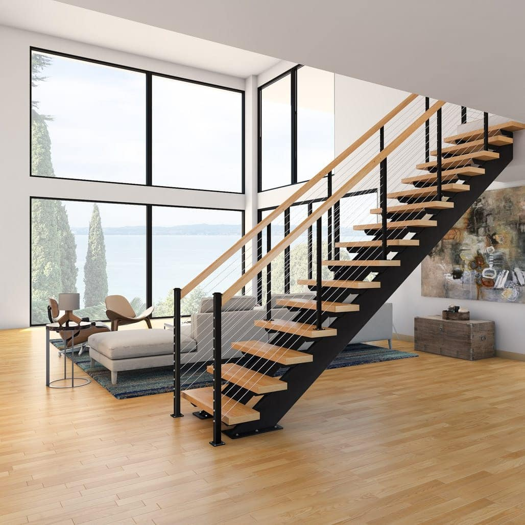 floating staircase with solid wood accents