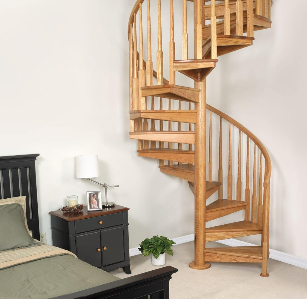 all wood bedroom spiral staircase