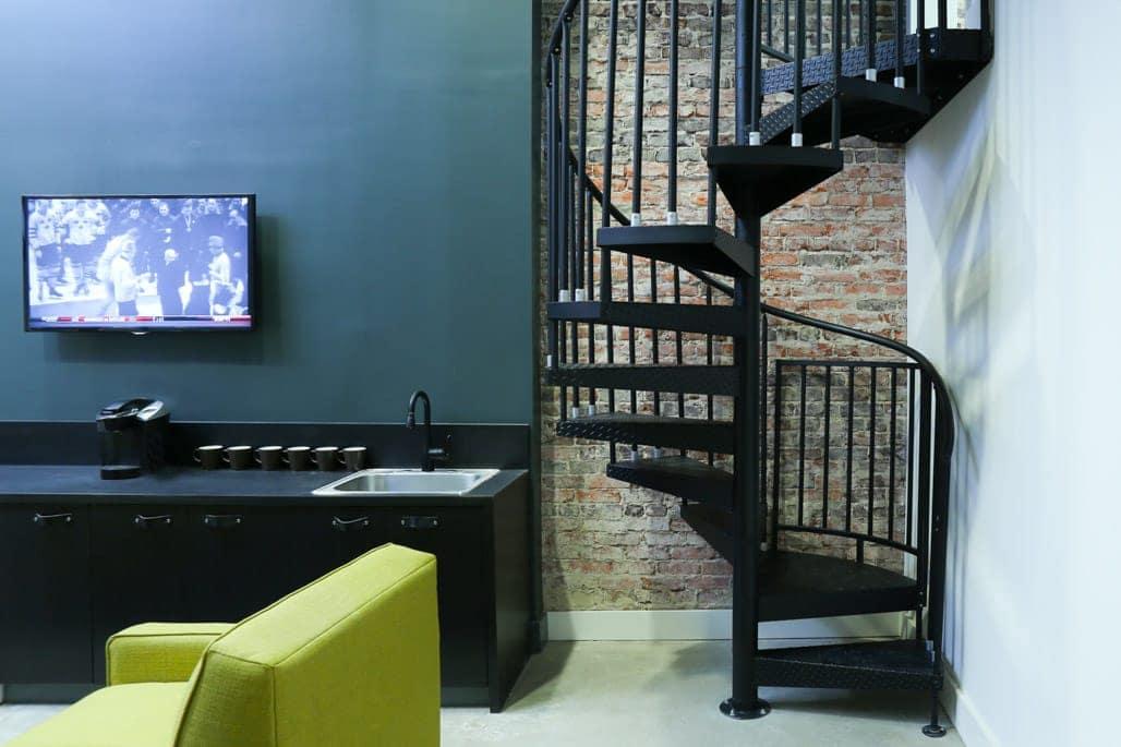 versatile steel spiral stair in office