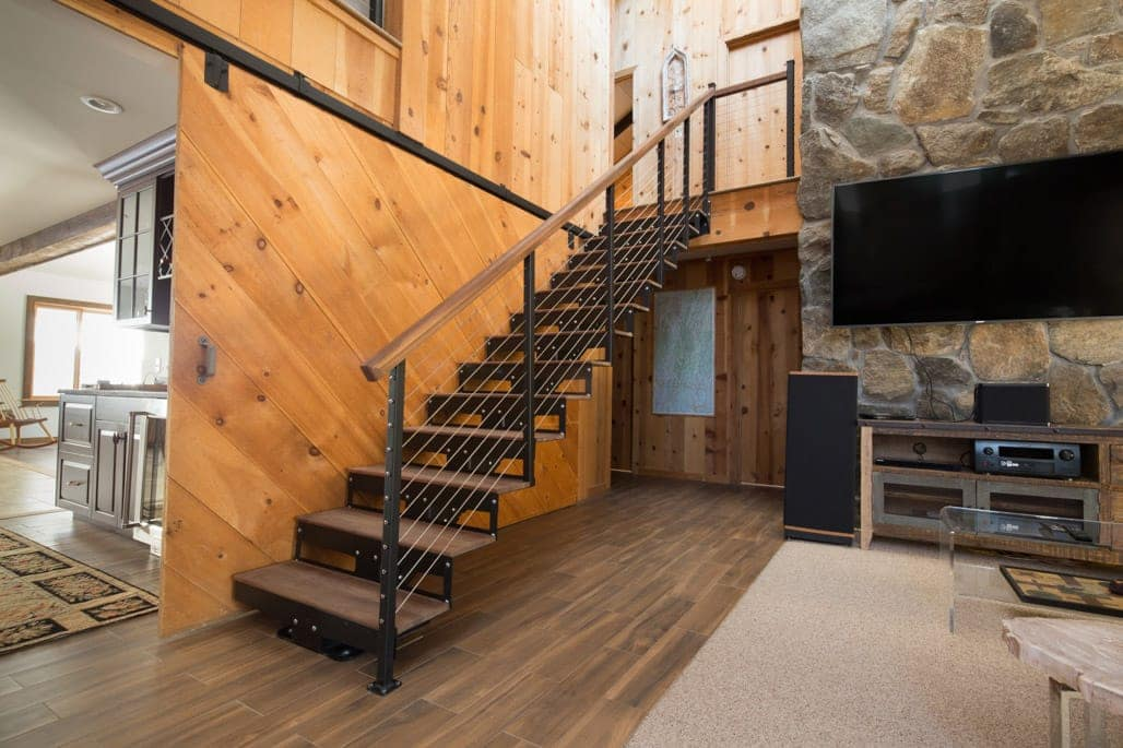 open frame steel staircase