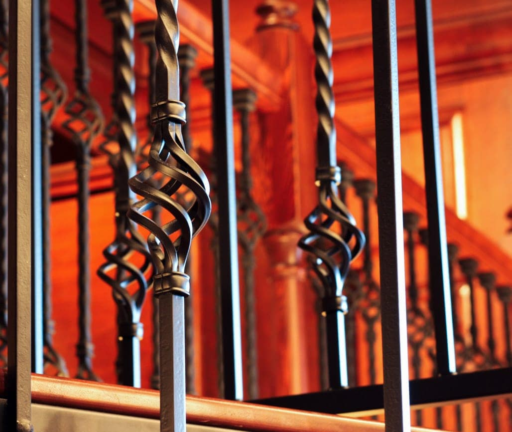 decorative spindles on iron spiral stair