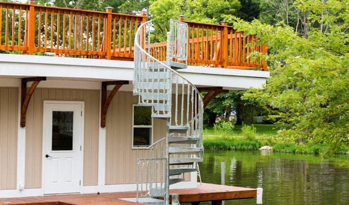 rooftop deck galvanized spiral stair