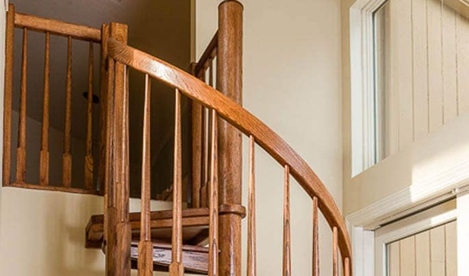 solid wood spiral staircase handrail