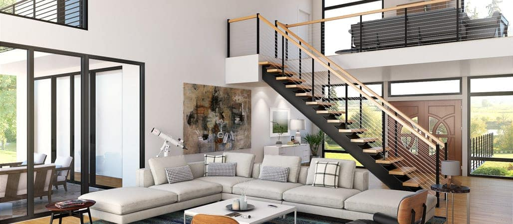 Modern Living Room Floating Staircase