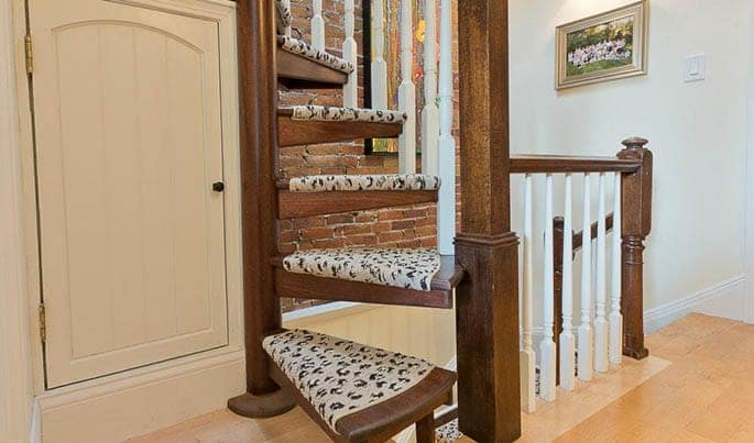 printed carpet on spiral staircase