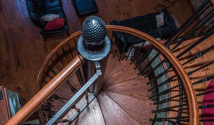 The lodge spiral staircase add an element of classic for Victorian spiral staircase