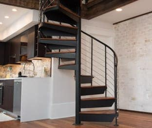 custom manufactured steel spiral stair