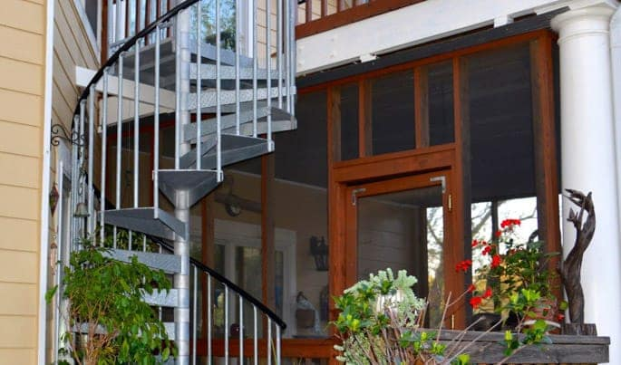 space maximizing outdoor spiral staircase