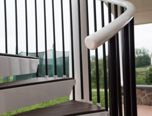 durable outdoor staircase with aluminum handrail