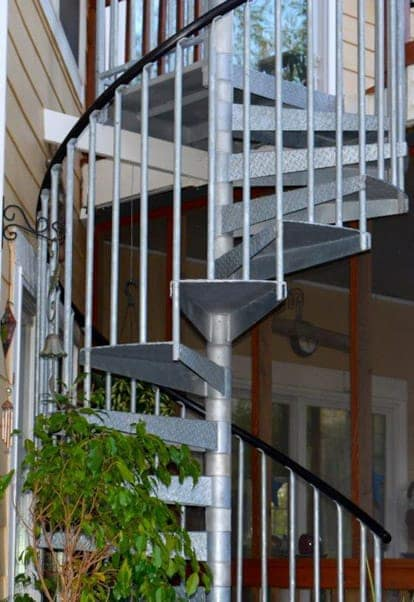 small space galvanized spiral stair