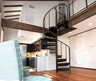 spiral staircases to a loft