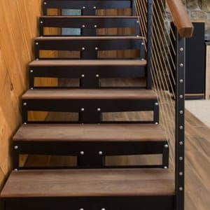premade metal straight stairs