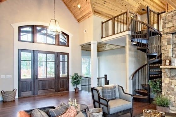 spiral stair to living room loft