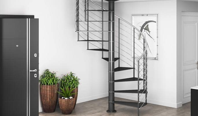 stainless steel line rail on spiral stair