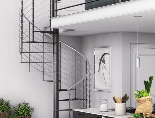 urban loft with spiral stair