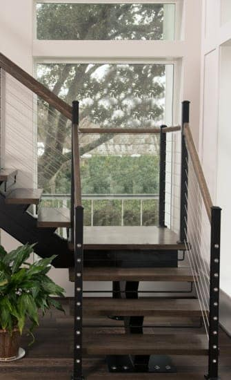 mono stringer staircase wood accents